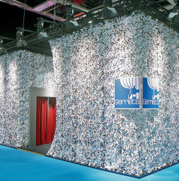 Gerriets booth with Camouflage Fabric White  SHOWTECH, Berlin / Germany