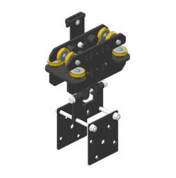 JOKER 95: Carro HD con fijación de cuerda y placa de sujeción de bastidor, guiado lateral