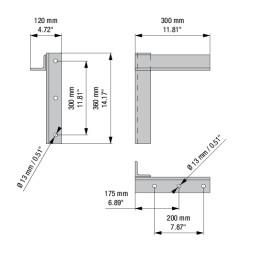 RUNWAY PLUS: настенный кронштейн с расстоянием от стены 30 см