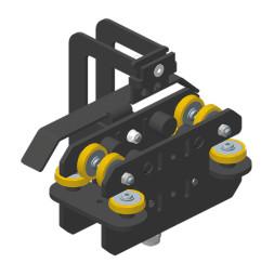 JOKER 95 с верхним тросом: Ведущая кареткa тяжелого типа с креплением для троса и кронштейном для концевого выключателя