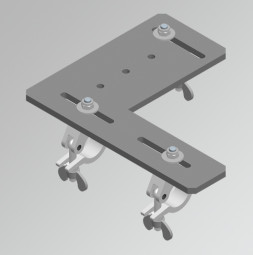 Truss frame mounting plate each with 3 half-coupler